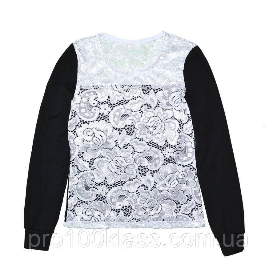 Школьная блузка с длинным  рукавом хлопок+гипюр
