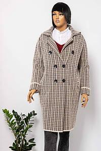 Пальто женское E-WOMAN C19-919 BROWN CHECK