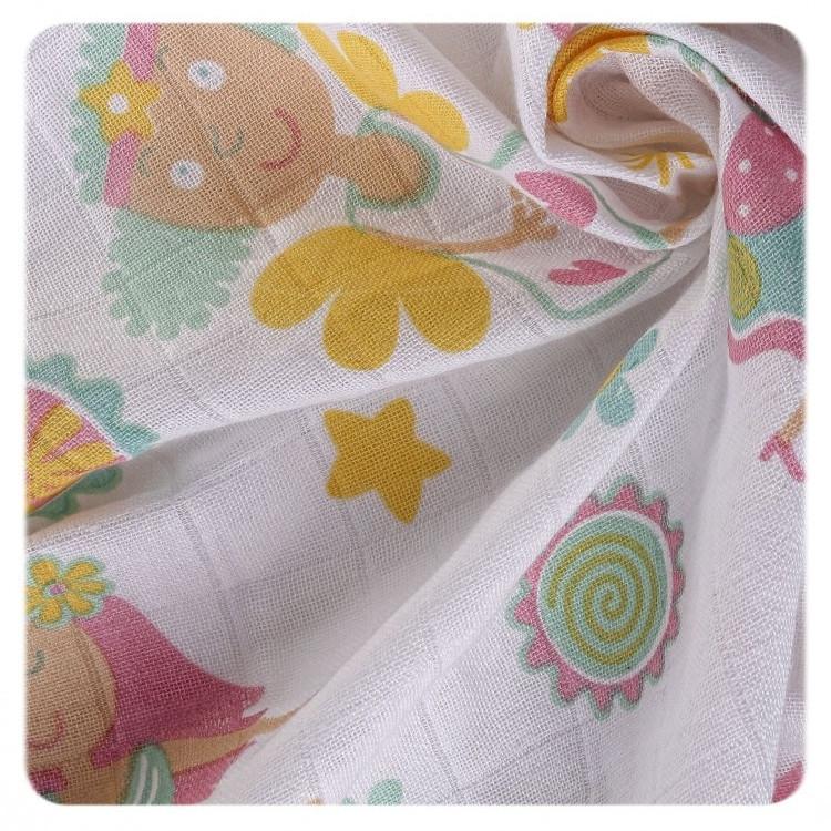 Пеленки детские хлопковые органические муслиновые  XKKO 80х80 3 шт.  Разноцветные для девочек