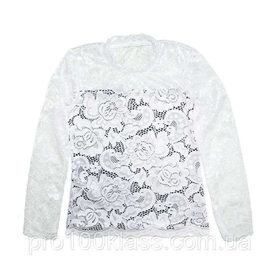 Блуза школьная  белая с гипюром