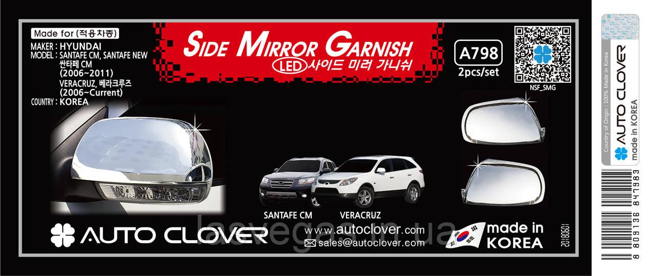 Хром накладки на зеркала Hyundai Vera Cruz IX55 2006-> (Autuclover A798)