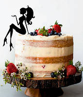 Сидящая девушка на торт , Топпер силуэт девушка, топер сидящая девушка черная, силуэт девушки на торт,