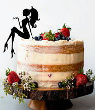 Сидить дівчина на торт , Топпер силует дівчина, топер сидить дівчина чорна, силует дівчини на торт,