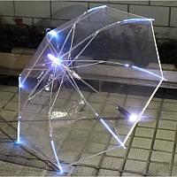 🔝 Светящийся зонт, LED Umbrella, Белый, прозрачный купольный зонтик трость с фонариком и подсветкой | 🎁%🚚