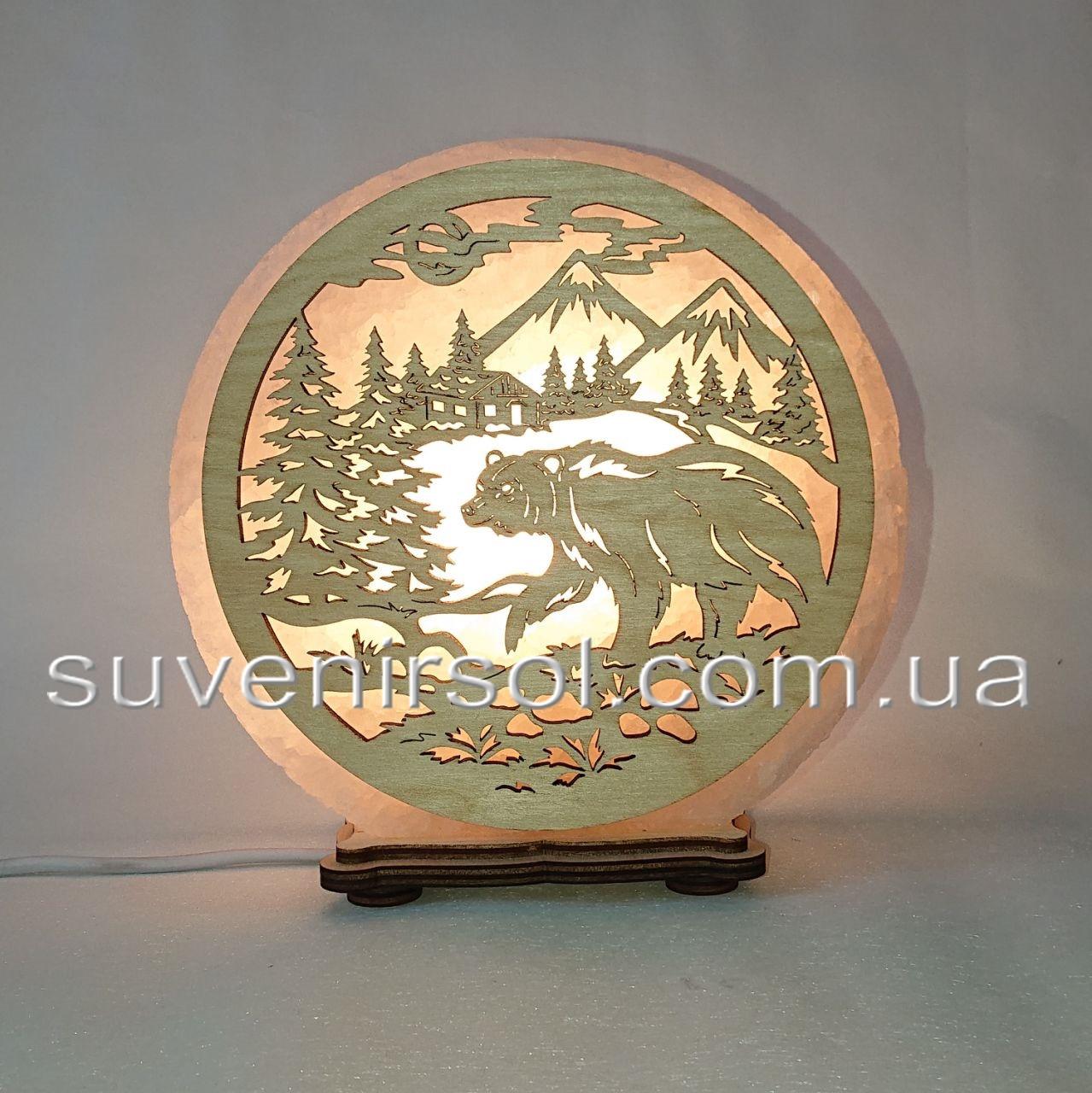 Соляной светильник круглый Мишка в горах