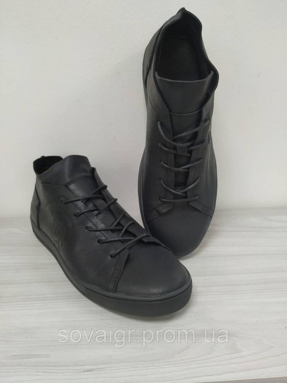 Кроссовки кожаные черные подростковые Disel! Скидка!!! - 40%