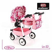 Детская кукольная коляска Lily SPORT TM Adbor (Ls-22, розовый светлый, цветы новые на малиновом)
