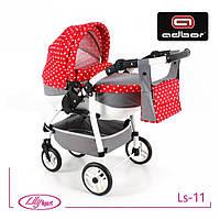Детская кукольная коляска Lily SPORT TM Adbor (Ls-11, серый, горошек на красном)