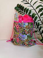 Сумка-рюкзак для сменной обуви розового цвета с цветочным принтом и бабочками 44*34 см