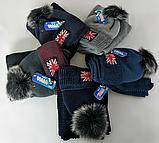 М 5101 Комплект шапка з помпоно і хомут зимовий , різні кольори, фото 3