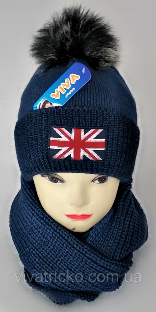 М 5101 Комплект шапка с помпоном и хомут зимний , разные цвета