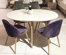 Обідній стіл в скандинавському стилі Марс розкладний PRESTOL, колір дуб + білий