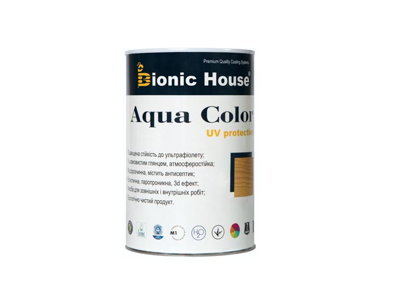 Фарба-антисептик на водній основі для фасадів будинків, вікон, дверей Aqua Color 1 л