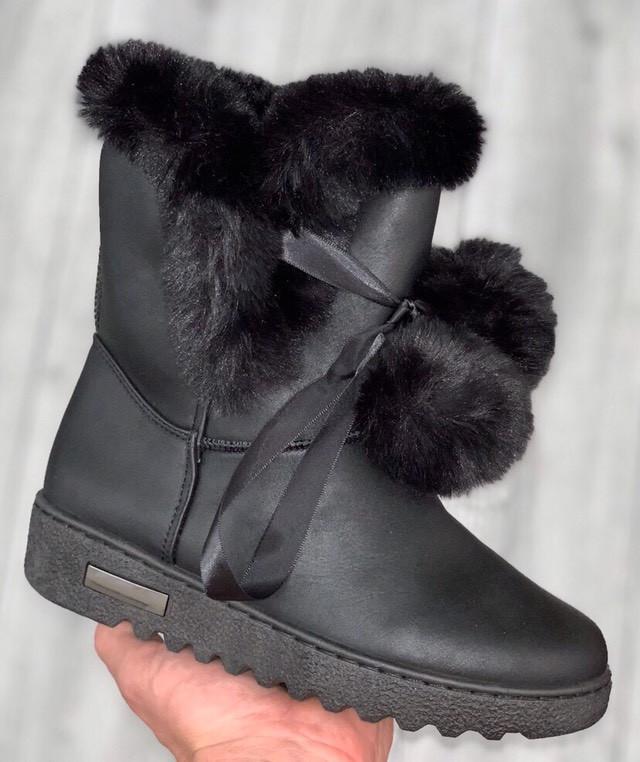 Ботинки женские зимние 8 пар в ящике черного цвета 36-41 (В наличии 1 ящик)