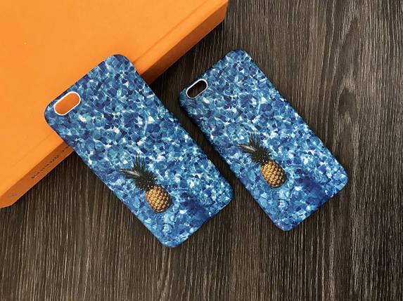Плаcтиковый чехол для iPhone 6 / 6S Синий с ананасом, фото 2