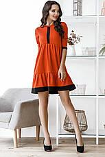 Свободное платье с завышенной талией и рукавом 3/4, №146, оранж, фото 3