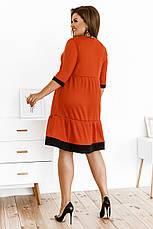 Свободное платье с завышенной талией и рукавом 3/4, №146, оранж, фото 2