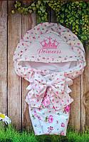 Красивый конверт на выписку  для девочек, с  рюшами и вышивкой