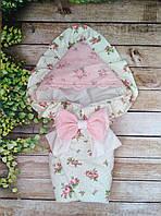 Красивый конверт  для новорожденных Розы,  с кружевом и рюшами
