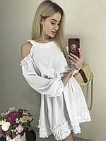 Легкое платье с длинным рукавом и открытыми плечами (42-44 универсальный, разные цвета)