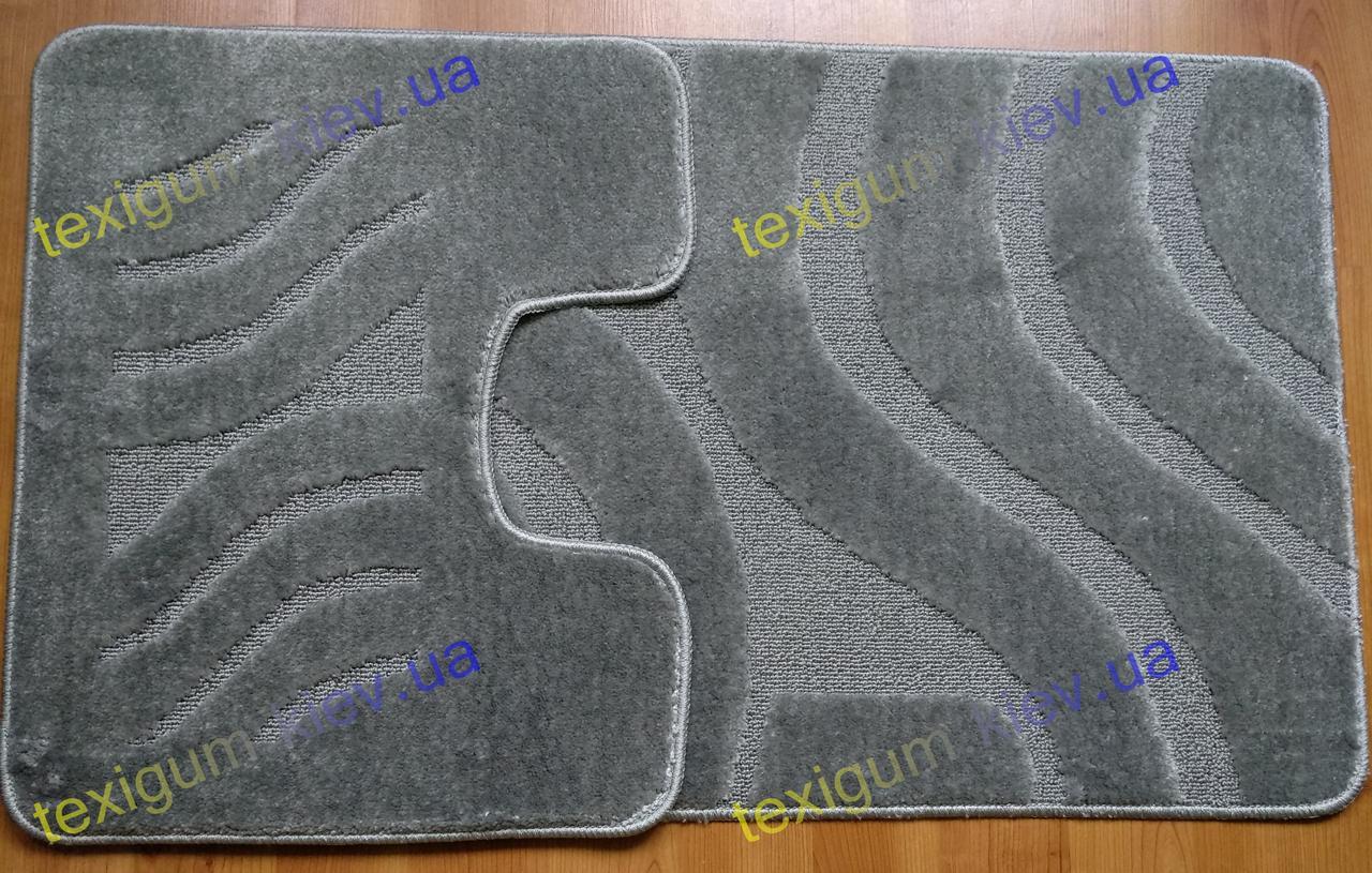 "Набор ковриков для ванной комнаты ""Волны"" серый 60х100+50х60см."