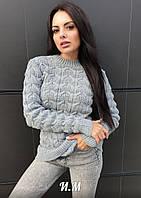 """Вязаный женский свитер """"Мося"""", серый"""