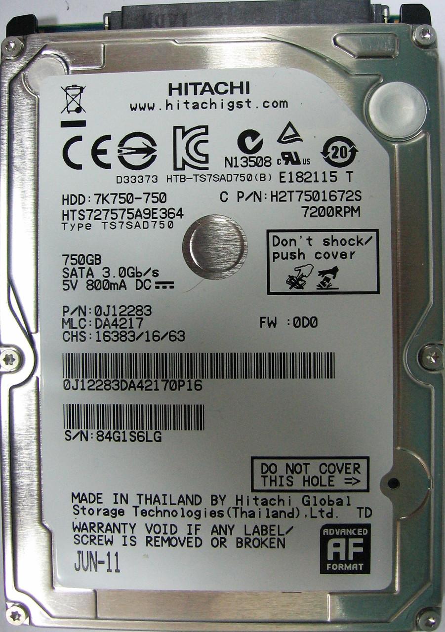 Жесткий диск HDD 750GB 7200rpm 16MB SATA II 2.5 Hitachi HTS727575A9E364 84G1S6LG