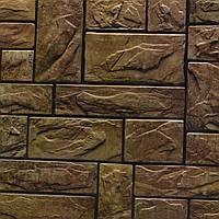 Панель декоративная ПВХ, кирпич, камень пиленый коричневый настоящий, 102,5 Х 49,5см