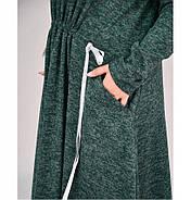/ Размер 50-52 / Женское осеннее уютное шерстяное платье батал 4100-1-Зеленый, фото 4