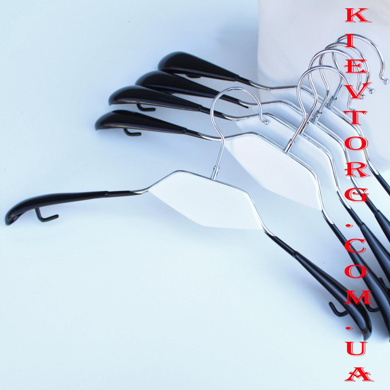 Плечики вешалки металлические силиконовые черные с белой деревянной вставкой, 42 см