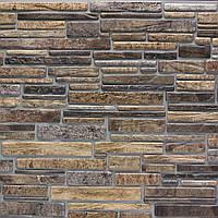 Панель декоративная ПВХ, камень пластушка коричневый, 102,5 Х 49,5см