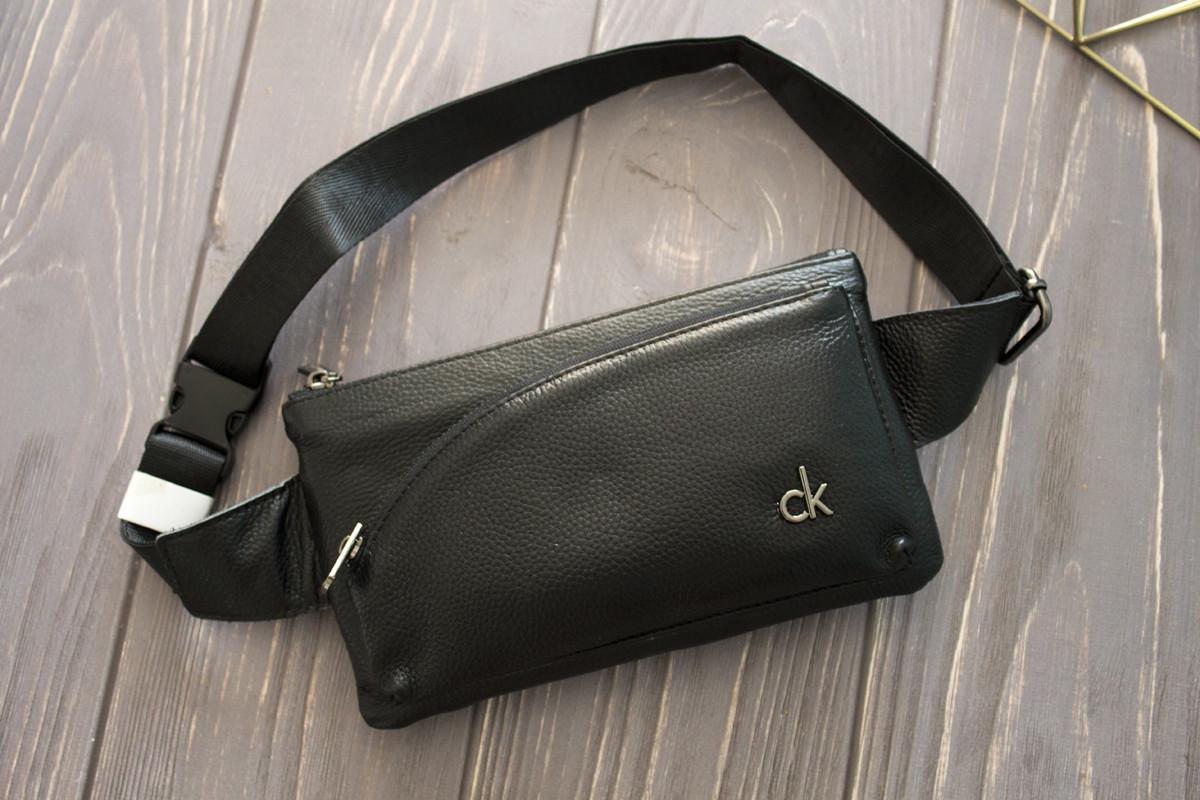 Поясная сумка из кожи Calvin Klein с регулируемым ремнем / Бананка