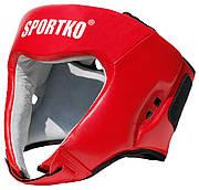 Шлем боксерский с печатью ФБУ кожа SPORTKO красный, под заказ, 7 дней