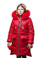 """Новинка!!! Детское зимнее пальто """"Мирра"""" красная, для девочек. Зима 19-20"""