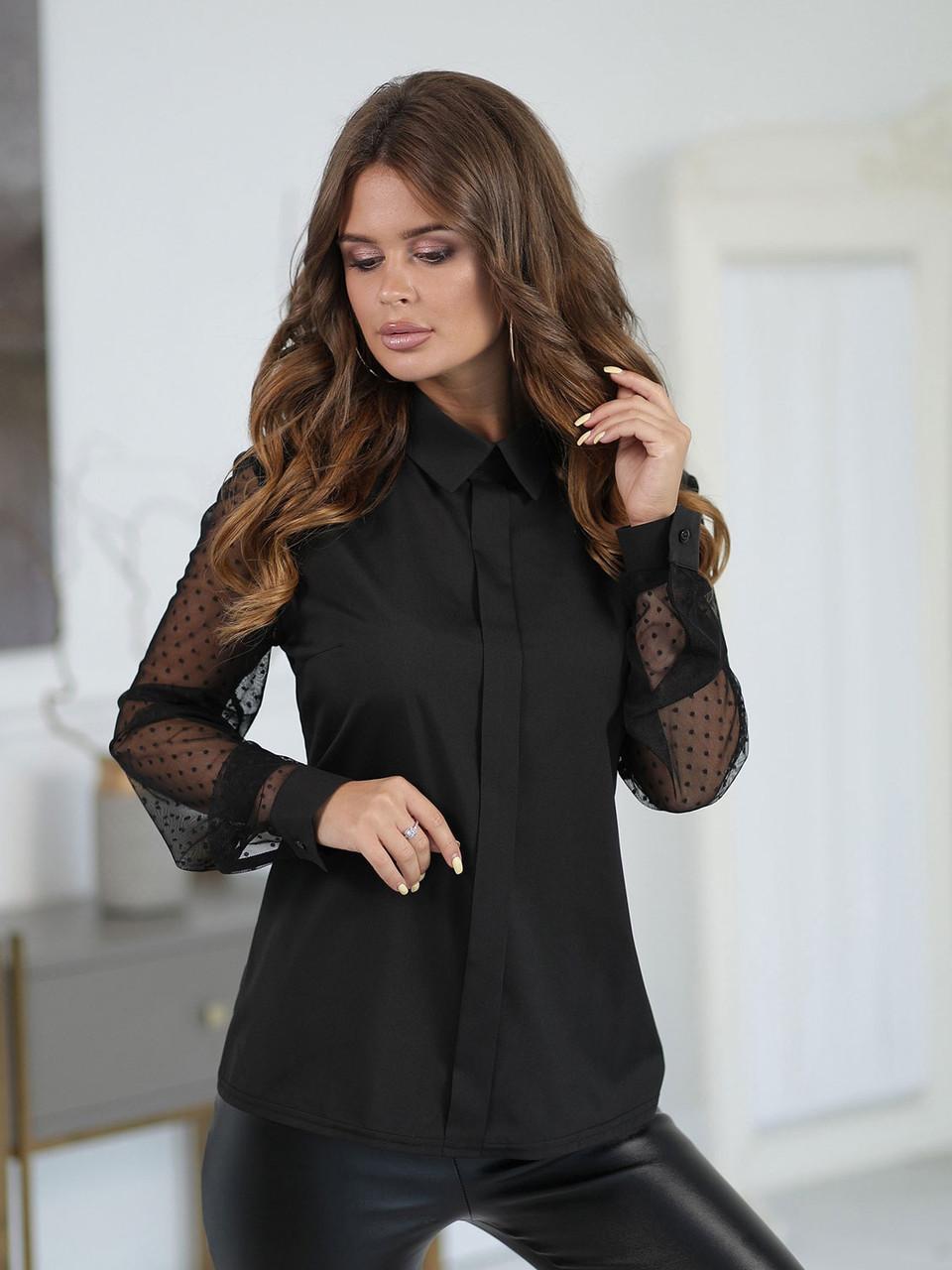 Черная деловая Блузка с прозрачным рукавом