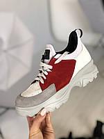Женские белые кожаные кроссовки с вставками красной и светло-серой замши