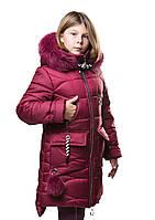 """Новинка!!! Детское зимнее пальто """"Мирра"""" бордовая, для девочек. Зима 19-20"""