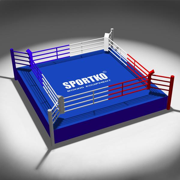 Боксерский Ринг ПРОФЕССИОНАЛЬНЫЙ SPORTKO 7,5х7,5х0,6м канаты 6,1х6,1м, под заказ, 20 дней