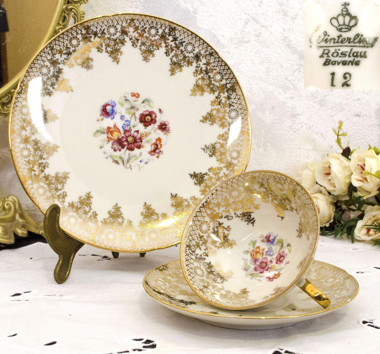 Антикварная фарфоровая чайная тройка, чашка, блюдце, тарелка, Winterling Roslau, Германия, фарфор