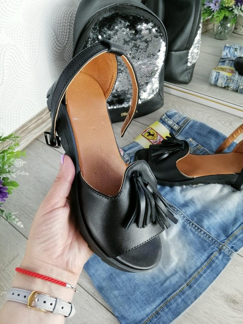 Женские черные босоножки, из натуральной кожи 36 ПОСЛЕДНИЙ РАЗМЕР