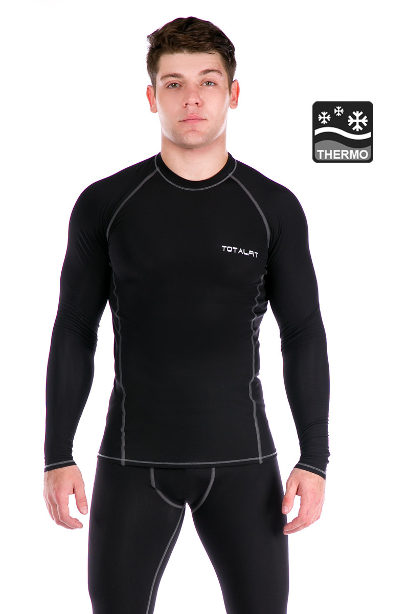 Чоловіча термофутболка Totalfit Sport TMR33 L Чорний з сірим