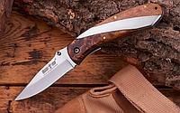 Нож складной с рукояткой из кап берёзы с прямоугольным сечением, натуральная древесина, коричневого цвета, фото 1