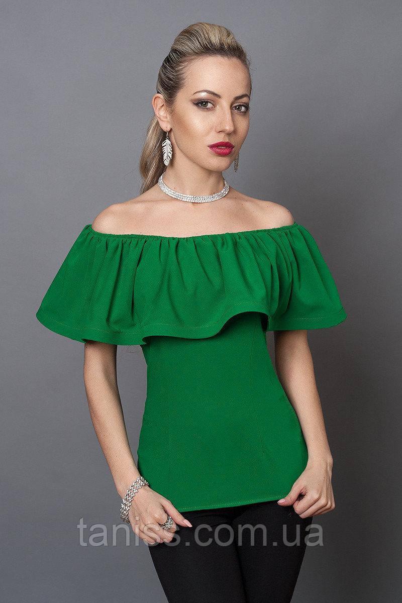 Летняя нарядная молодежная блузка, плечи открыты, широкая пелеринка , креп-шифон р. 40,42,44 зеленый   (494)