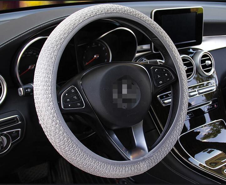 Чехол-оплетка для руля легкового автомобиля (серый)