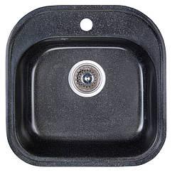 🇱🇻 Кухонная гранитная мойка Fosto квадратная (480x490 мм), одночашевая, цвет черный (FOS4849SGA420)