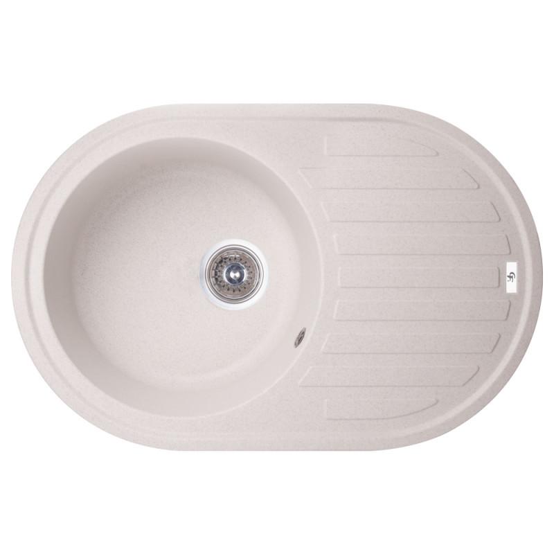 Кухонная гранитная мойка GF Italy овальная (780x500 мм), одночашевая, цвет песок (GFCOL06780500200)