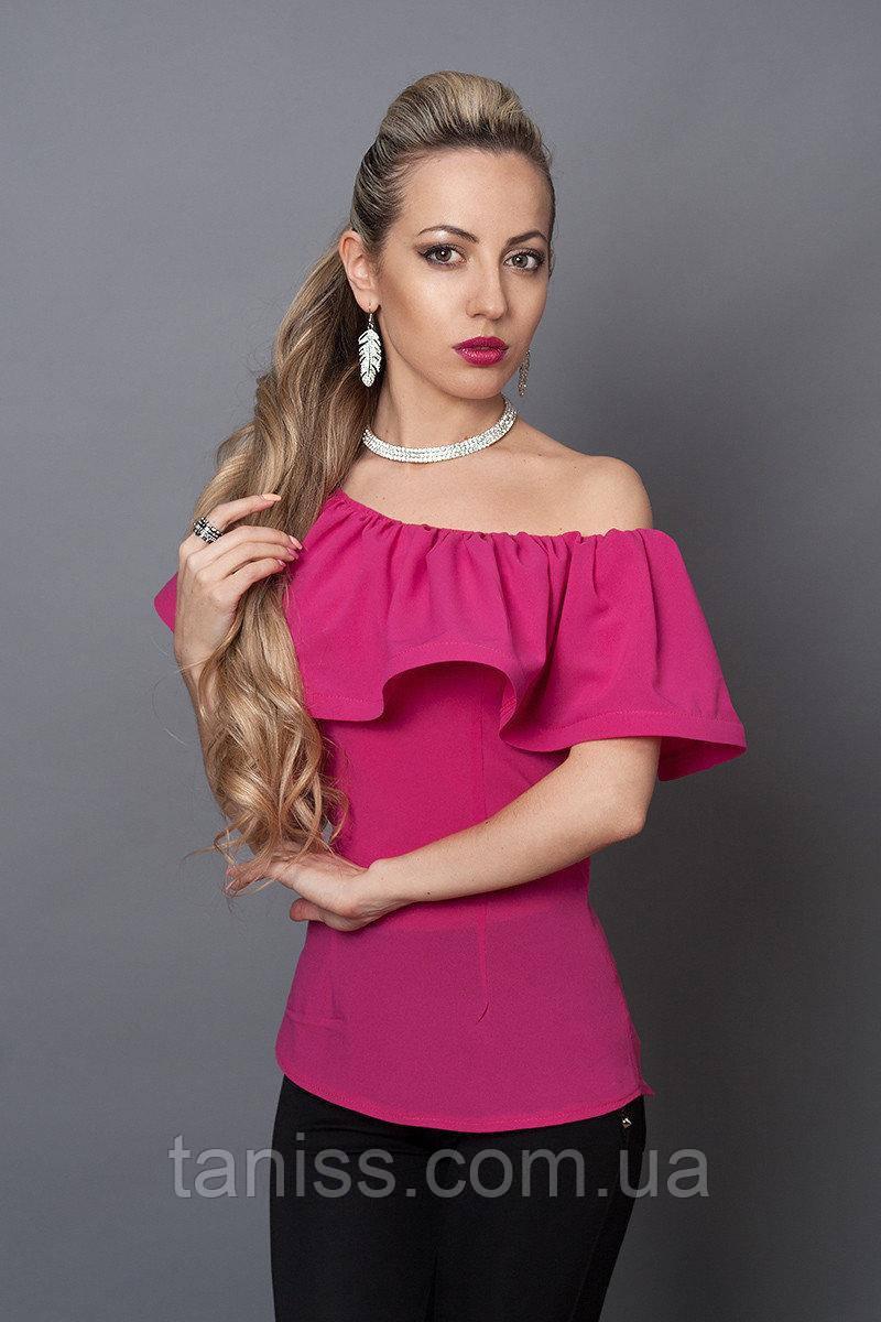 Летняя нарядная молодежная блузка, плечи открыты, широкая пелеринка , креп-шифон р. 40,42,44,46 фуксия  (494)