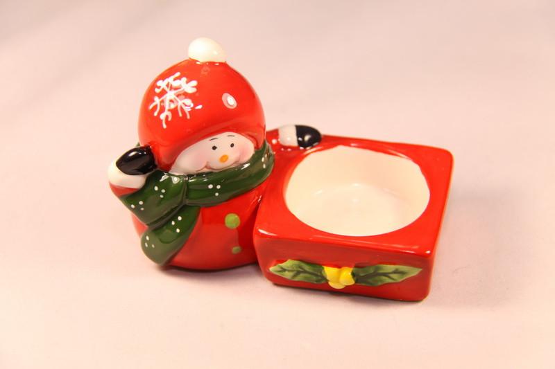 Подсвечник - Снеговик, красный, керамика (440658)