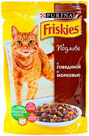 Влажный корм для котов Purina Friskies с говядиной и морковью в подливе 100 г