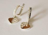 Серебряные серьги с подвесом сердечко Романтик